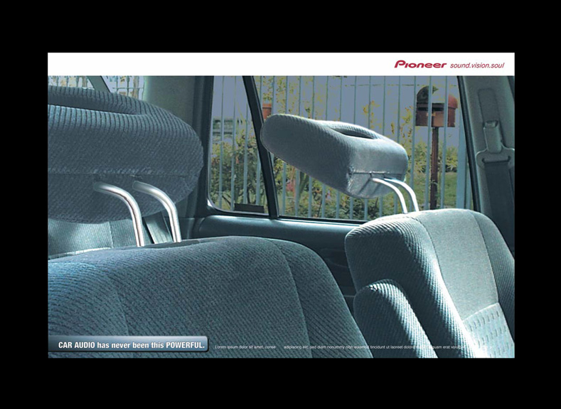 Pioneer car audio Headrests ad