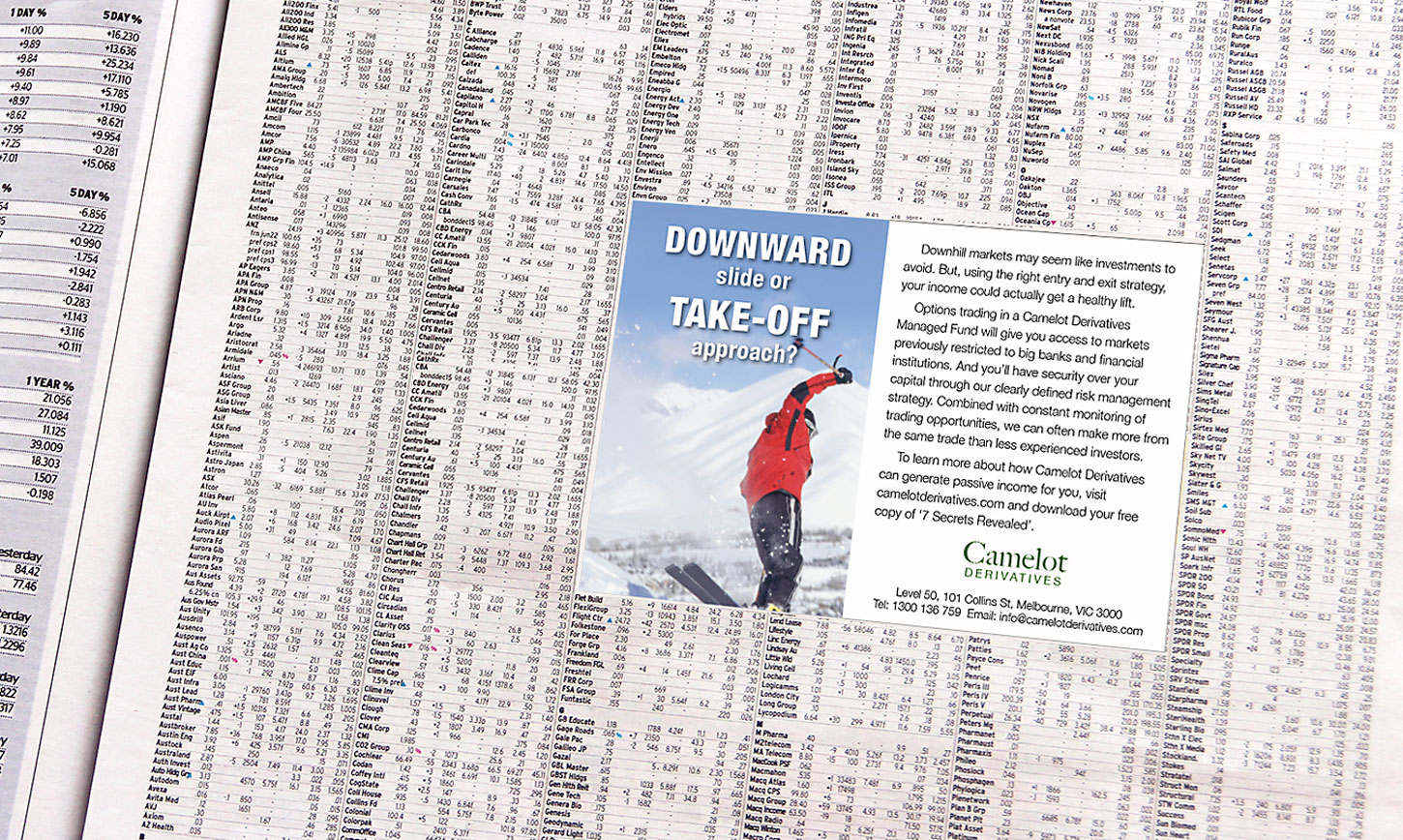 Camelot Investments ad in newspaper